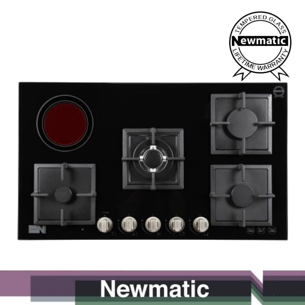 Newmatic PM941STGB Built In Gas & Electric Hob, Appliance For Built In Kitchen Cabinet