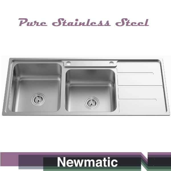 Newmatic Double 116 Ultra Deep Bowl Kitchen Sink Kitchen Cabinet