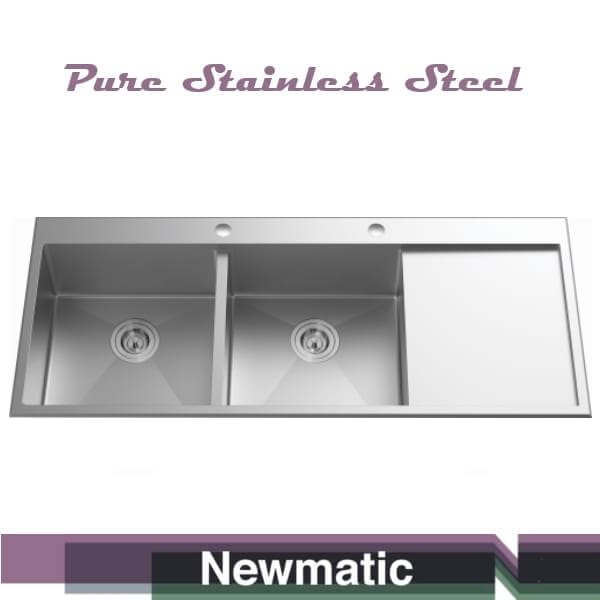 Newmatic Double 120 Handcrafted Sink For Kitchen Cabinet